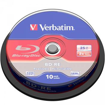BR Blue-Ray BD-RE 25GB Verbatim 10er Spindel 2x